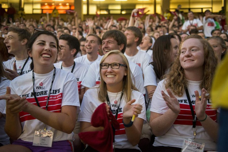 Incoming freshman attend the opening ceremony of M.A.S.T.E.R. Plan Aug. 16, 2015, at Houchens Industries-L.T. Smith Stadium. Matt Lunsford/HERALD
