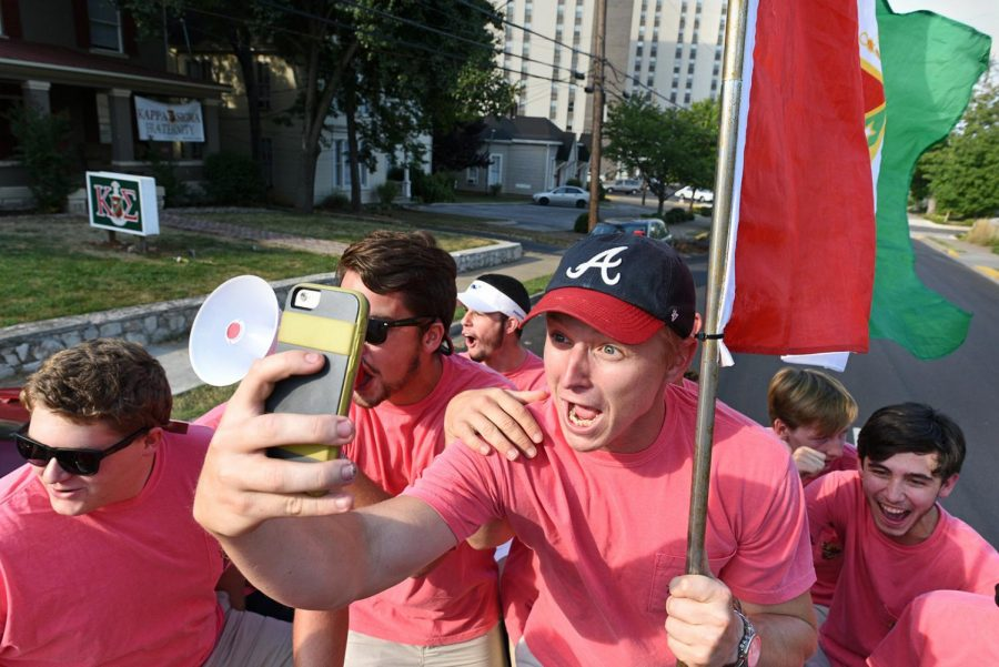 Pledges+from+Kappa+Sigma+head+to+Downing+Student+Union+to+sign+their+bid+cards+to+official+pledge+on+the+campus+of+Western+Kentucky+University+on+Friday%2C+Aug.+28.+Kappa+Sigma+had+its+biggest+pledge+class+to+date%3A+28+formal+and+three+informal.+This+year+marks+Kappa+Sigma%E2%80%99s+50th+year+on+campus.
