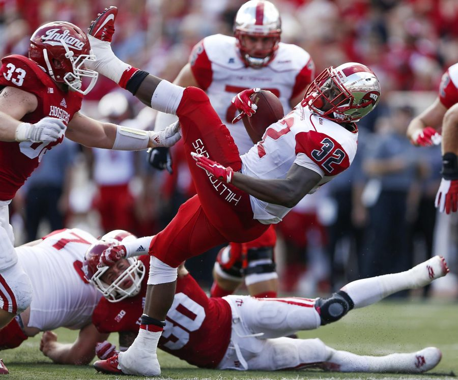 Western+Kentucky+running+back+D%27Andre+Ferby+%2832%29+is+tackled+before+the+end+zone+during+a+NCAA+game+at+Memorial+Field%2C+in+Bloomington%2C+Ind.%2C+Sept.+19.+Michael+Noble+Jr.%2FHERALD