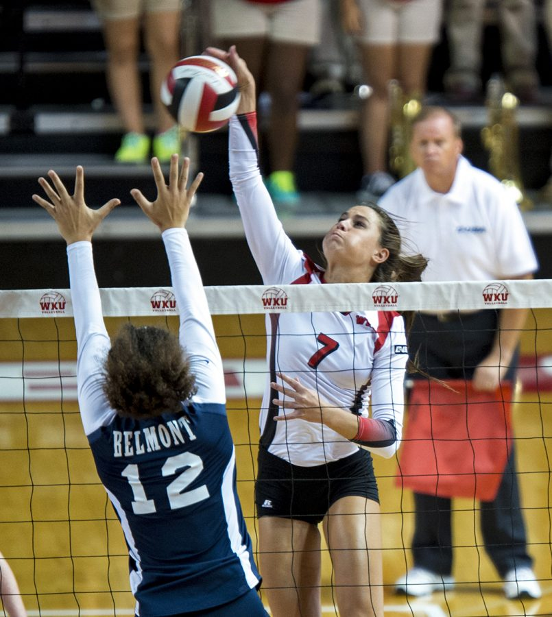 Outside+hitter+Alyssa+Cavanaugh+%287%29+tries+to+spike+the+ball+past+Belmont+University%E2%80%99s+Brie+Lewis+%2812%29+during+the+Lady+Topper%E2%80%99s+3-0+win+over+the+Bruins+on+Sept.+2%2C+2014%2C+in+Diddle+Arena.%C2%A0