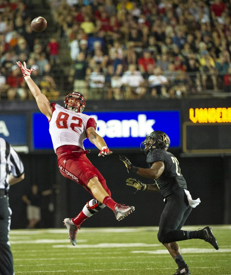 WKU tight end Tyler Higbee (82) cant get a hand on a pass as Vanderbilt University safety Jahmel McIntosh (27) provides cover during the second half of the Hilltoppers' 14-12 win over Vanderbilt University Thursday at Vanderbilt Stadium in Nashville. Nick Wagner/HERALD