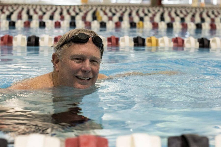 WKU political science professor Edward Yager poses for a portrait during a swim workout in the Powell Natatorium. Andrew Livesay/HERALD