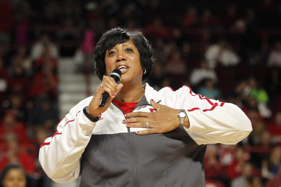 Lady Topper basketball fourth season head coach Michelle Clark-Heard, talks with the audience during the introduction of the players. Alyssa Pointer/HERALD