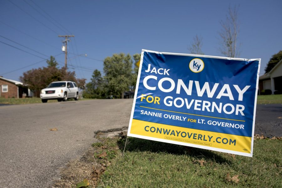 A political sign endorsing Democratic candidate Jack Conway stands in the front yard of a home in Bowling Green. Conway is running against Republican candidate Matt Bevin for the 2015 Kentucky gubernatorial election.