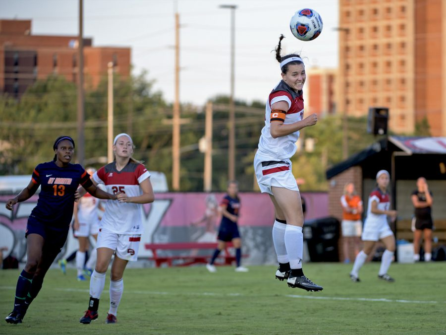 WKU%27s+defender+Chandler+Clark+%2831%29+goes+for+a+header+during+the+Lady+Topper%27s+3-1+win+over+University+of+Tennessee+-+Martin+in+the+season+opener+Friday%2C+Aug.+21%2C+2015%2C+at+the+WKU+Soccer+Complex+in+Bowling+Green%2C+Ky.