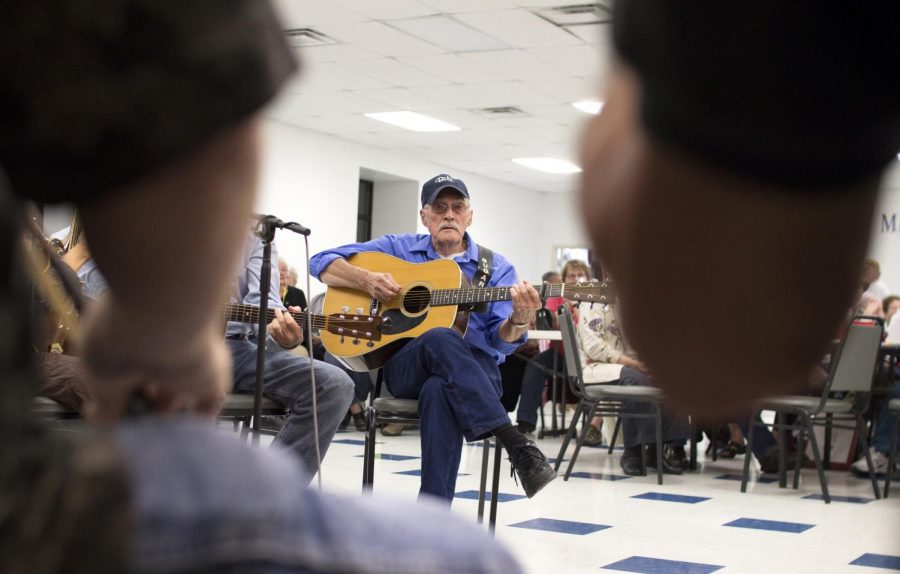 Bill Vincent plays his guitar during the Bluegrass Jams on Thursday, Oct. 15 at the Fraternal Order of Police Lodge in Bowling Green. Vincent has been participating in the jam session for the past two years. Shaban Athuman/HERALD
