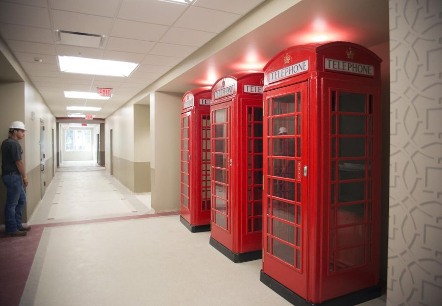 A+row+of+three+British-style+telephone+booths+on+the+first+floor+that+have+been+set+up+as+Skyping+stations.+Once+the+stations+are+completed%2C+students%2C+faculty+and+staff+will+have+an+area+to+go+for+a+private+place+to+video+chat.%C2%A0Matt+Lunsford%2FHERALD