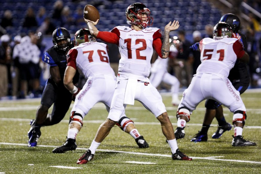 Senior quarterback Brandon Doughty reset his own single-game WKU passing yards record with 593 yards during the WKU vs. Middle Tennessee State University game at Floyd Stadium in Murfreesboro on Sept. 13, 2014. Alyssa Pointer/HERALD ARCHIVE