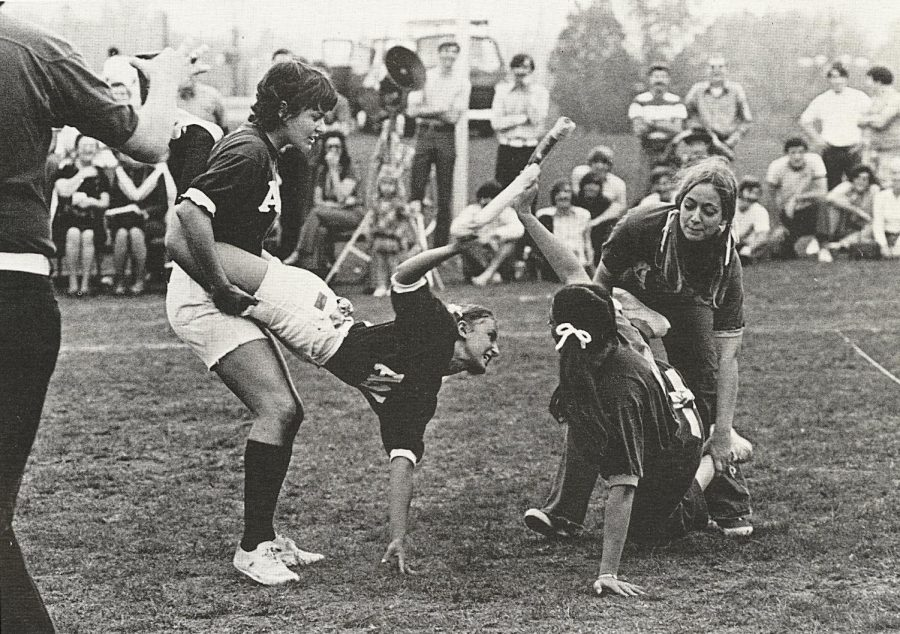 Penny Walker and Stacy Foster fight off the Alpha Zeta Deltas in the egg smash event at the Sigma Chi Derby. Walker and Foster won the contest. Photo circa 1972/Talisman Archive