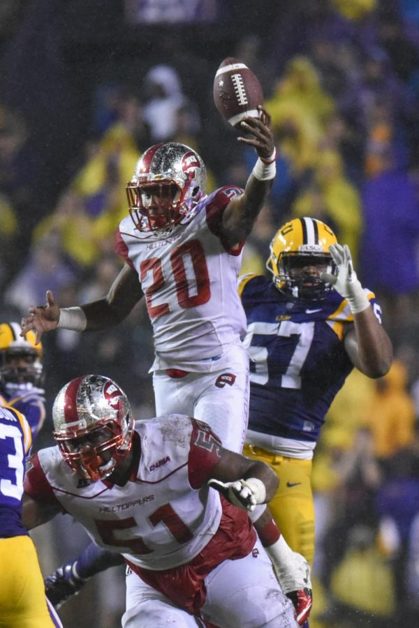 WKU's running back Anthony Wales, 20, makes a catch during the Hilltopper's 48-20 loss to LSU on Saturday at Tiger Stadium in Baton Rouge, La.