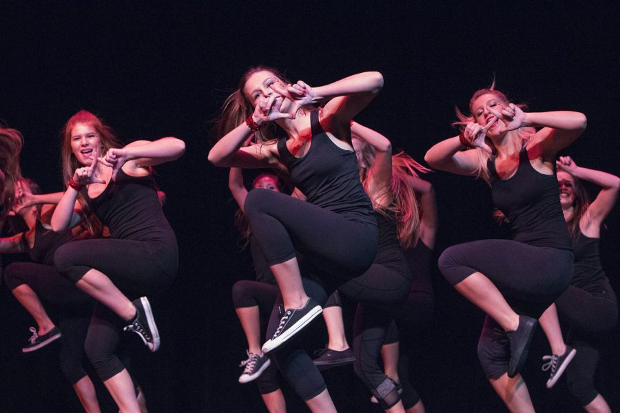 Chi Omega sorority sisters and Sigma Phi Epsilon brothers perform a choreographed routine during the 25th annual Shenanigans affair, Wednesday, Oct. 7. The philanthropic event, hosted by Kappa Delta sorority, raised money for the Prevent Child Abuse America organization. Madihah Abri/HERALD