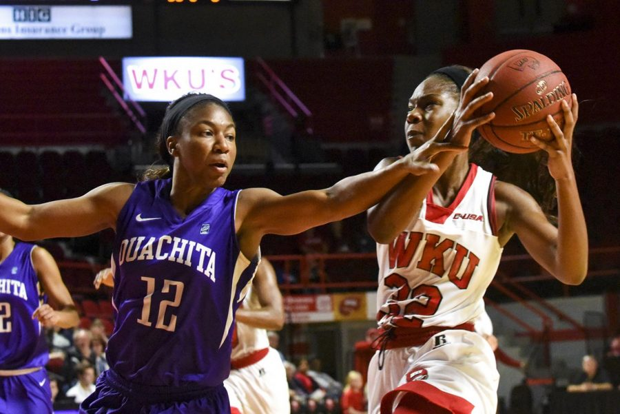 Freshman+guard+Kayla+Smith+%2832%29+heads+to+the+hoop+for+two+of+her+17+points+during+the+Lady+Toppers%E2%80%99+108-43+win+over+Ouachita+Baptist+University+on+Nov.+3+at+Diddle+Arena.+Matt+Lunsford%2FHERALD