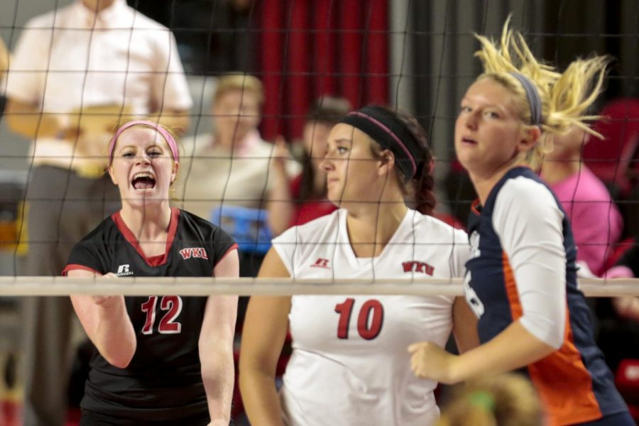 WKUs+defense+specialist+Georgia+OConnell+%2812%29+reacts+to+WKU+scoring+a+point+during+the+Lady+Toppers+3-1+win+over+UTSA+on+Friday+at+E.A.+Diddle+Arena.