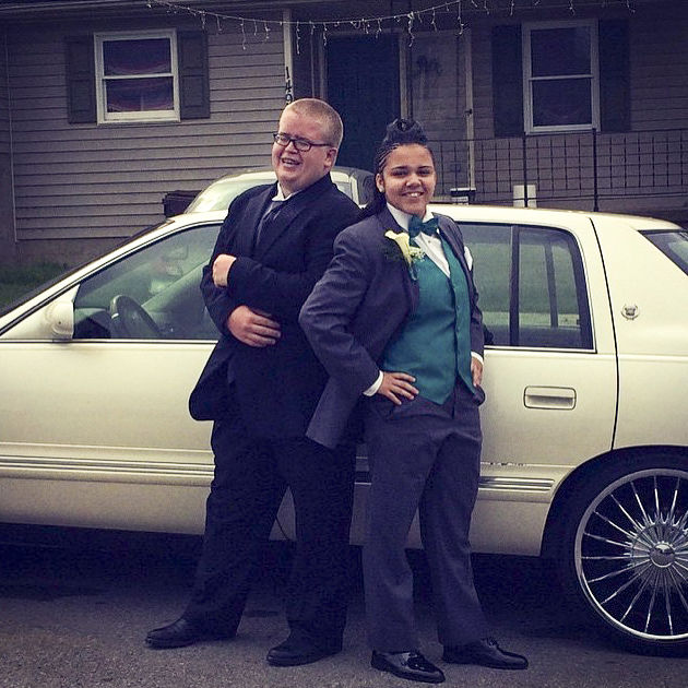 Shanece Sullivan, right, and her friend Austin Spears, left, before their senior prom. Photo submitted by Austin Spears.
