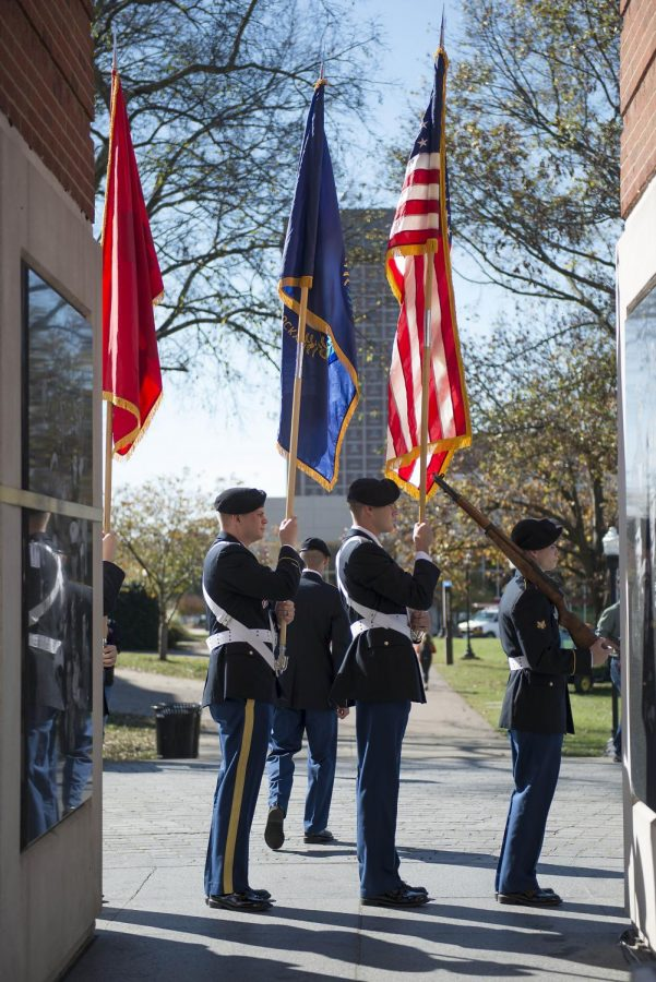 Members+of+the+WKU+Army+ROTC+honor+guard+prepare+to+present+the+colors+in+the+shadows+of+the+Guthrie+Bell+Tower+Wednesday.+They+were+joined+by+President+Gary+Ransdell+and+many+veterans+for+the+Veterans+Day+and+wreath-laying+ceremony.+Matt+Lunsford%2FHERALD