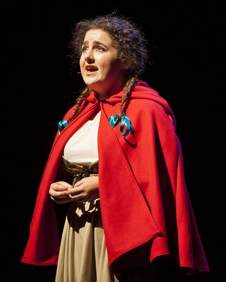 Louisville sophomore Riley Morrissey performs Little Red Riding Hood during a dress rehearsal for Into the Wood on Tuesday at the Fine Arts Center. Shaban Athuman/HERALD