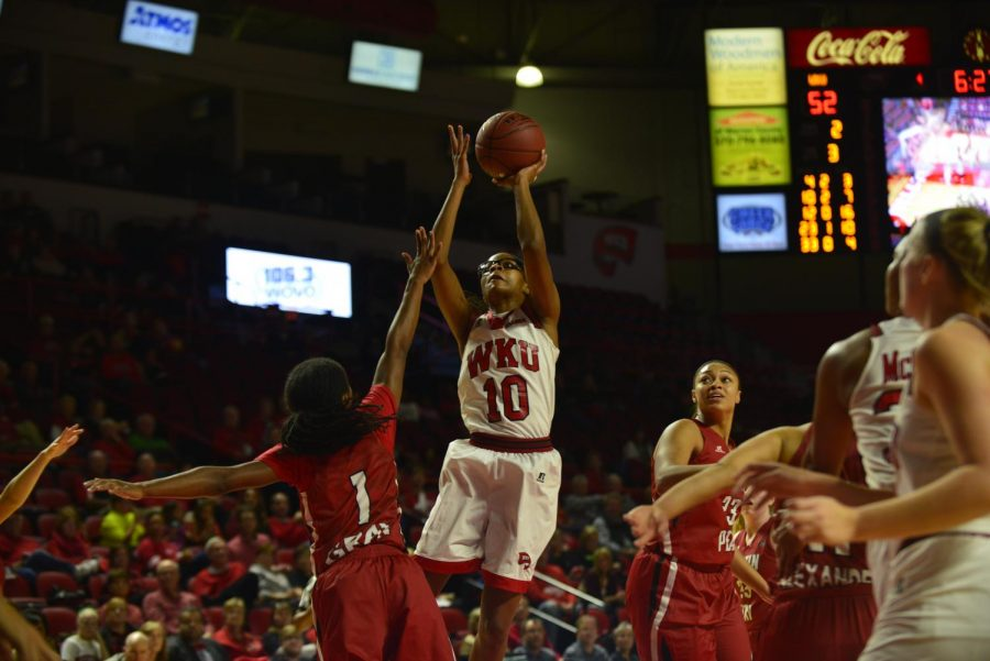 WKU sophomore forward Tashia Brown (10) puts up a shot during the game against the Austin Peay State University Lady Colonels, Saturday, Dec. 5, 2015 at Diddle Arena, Bowling Green, Ky. WKU won 88 - 69. Matt Lunsford/HERALD