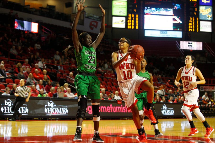 Lady Topper forward Tashia Brown (10) goes for a layup during the Conference USA game at Diddle Arena, Saturday, January 16. The Lady Topper's defeated the Eagles, 65 -53. Alyssa Pointer/HERALD