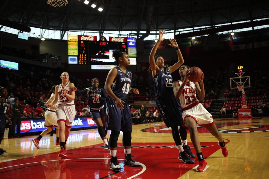 Freshman guard/forward Kayla Smith (32) drives for a layup during WKU's game against Old Dominion on Jan. 21 at Diddle Arena. WKU defeated the Lady Monarchs 68-51. Jake Hurdt/HERALD