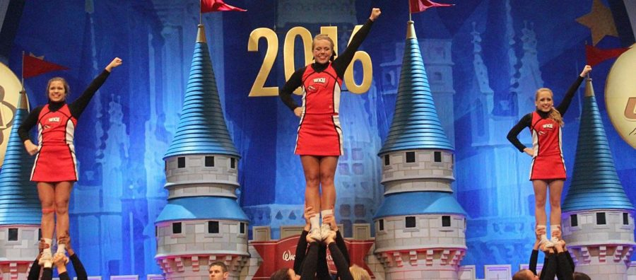 The+WKU+cheerleading+team+placed+third+in+the+Universal+Cheerleading+Association+College+National+Championships+on+Jan.+3.+Third+is+the+highest+finish+in+WKU+cheerleading+history.+Submitted+photograph+by+Joshua+Bewley