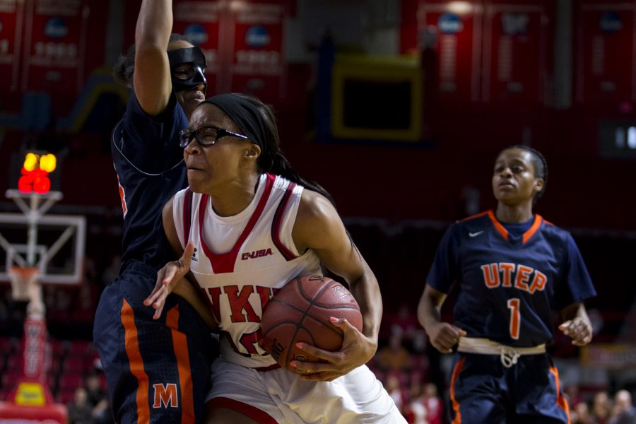 WKUs forward Tashia Brown (10) drive the ball past University of Texas at El Paso guard Jenzel Nash (24) during a WKU-University of Texas at El Paso basketball game on Saturday Feb. 6 at E.A, Diddle Arena in Bowling Green, Ky. Shaban Athuman/HERALD