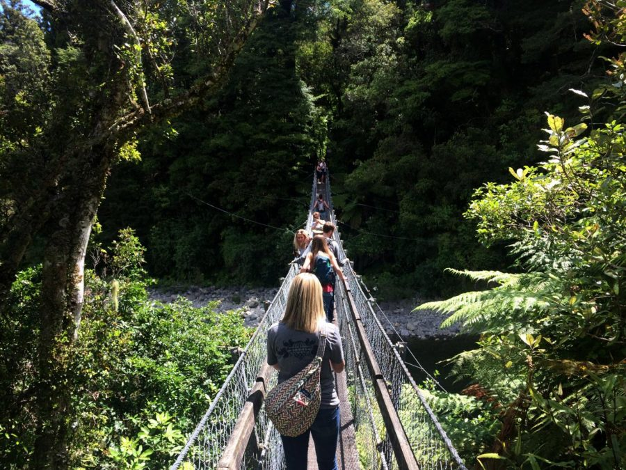 """Students on a winter break study abroasd trip to New Zealand viisted the """"Rivendell """" filming location from the Lord of the Rings films. A group of WKU students spent 15 days traversing the country. Photo submitted by Nina Wells"""
