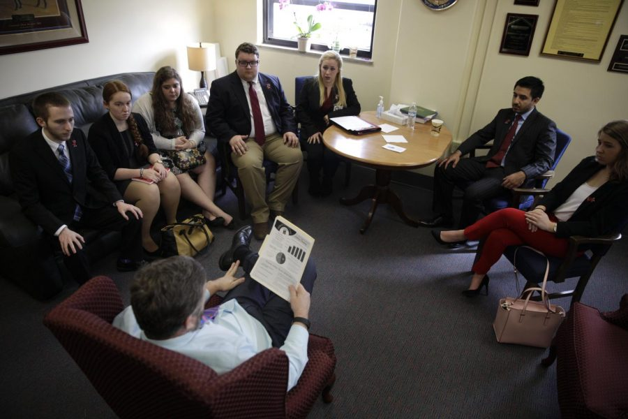 February 23, 2016 -- Frankfort, Kentucky -- WKUs SGA members listen to Representative and House Majority Whip Johnny Bell as they discuss about the governors proposed budget during the WKUs SGA visit to the state delegates in Frankfort, Ky to discuss budget proposal that affect education.