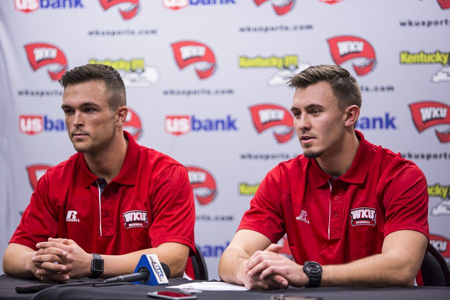 WKU%27s+infielder+Danny+Hudzina%2C+left%2C+talks+to+the+press+as+infielder+Thomas+Peter+listens+during+the+Hilltoppers%27+press+conference+on+Wednesday.+%22Our+number+one+goal+is+to+be+in+the+Conference+USA+tournament%2C+once+you%27re+there+anything+can+happen%2C%22+Head+Coach+John+Pawlowski+said.%C2%A0Shaban+Athuman%2FHERALD