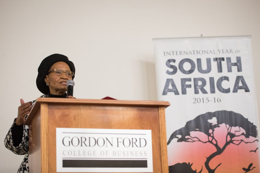 Ms. Nowetu Luti, the Charge dAffaires of the Embassy of South Africa, speaks to a crowd at Grise Auditorium on the legacy of the late Nelson Mandela. The students here must pursue the goals of their country and of themselves...education is the best weapon. Gabriel Scarlett/HERALD