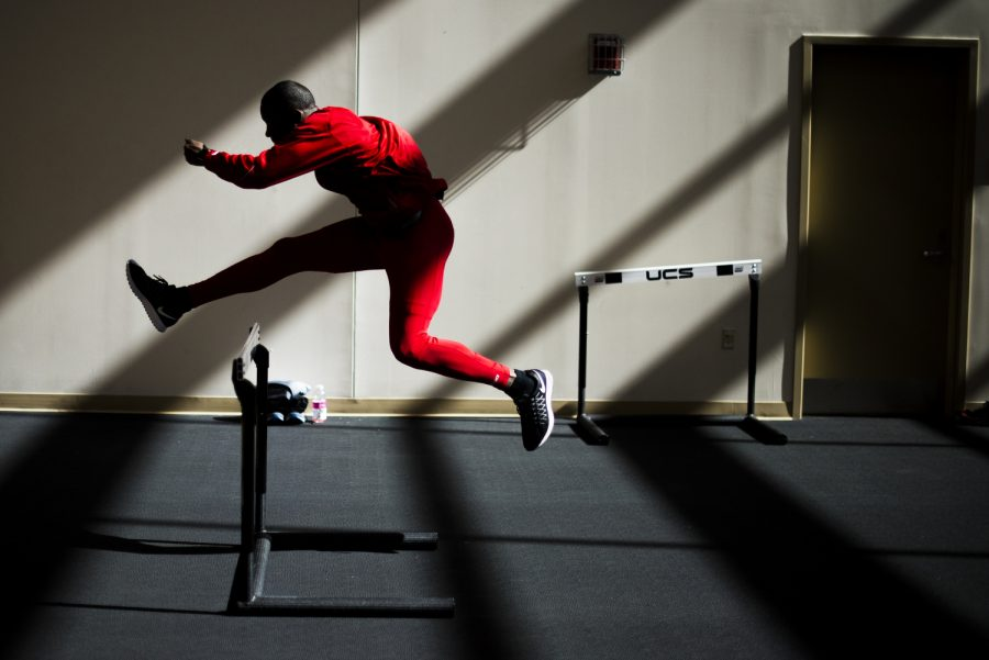 West Palm Beach, Fla. sophomore Jonathon Hayden practices hurdles before his race in the finals of the men's 60 meter hurdles at the Music City Challenge in Nashville, Tenn. February 13, 2016. Hayden went on to finish fifth with a time of 8.09 seconds. Justin Gilliland/HERALD
