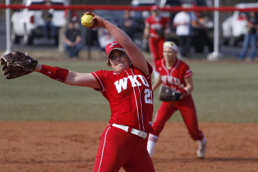 WKU's Hannah Parker (21) winds up for a pitch during the WKU vs. Missouri State softball game at WKU on Feb. 20, 2016. The lady Toppers had a 4-3 victory over Missouri state. Kathryn Ziesig/HERALD