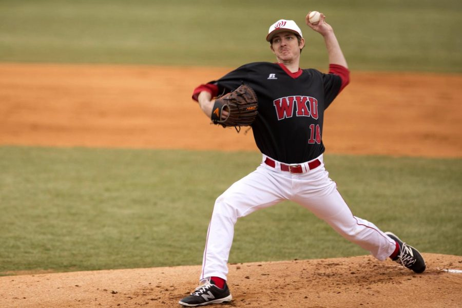 WKU+senior+pitcher+Austin+King+%2818%29+started+the+game+for+Hilltoppers+and+pitched+five+and+a+third+inning+before+being+relieved.+King+finished+with+five+strikeouts+and+gave+up+six+hits+and+two+runs+against+Youngstown+State+Penguins+during+the+game+on+Friday+at+Nick+Denes+Field.+WKU+defeated+YSU%2C+5-3+on+Feb.+19.+Matt+Lunsford%2FHERALD