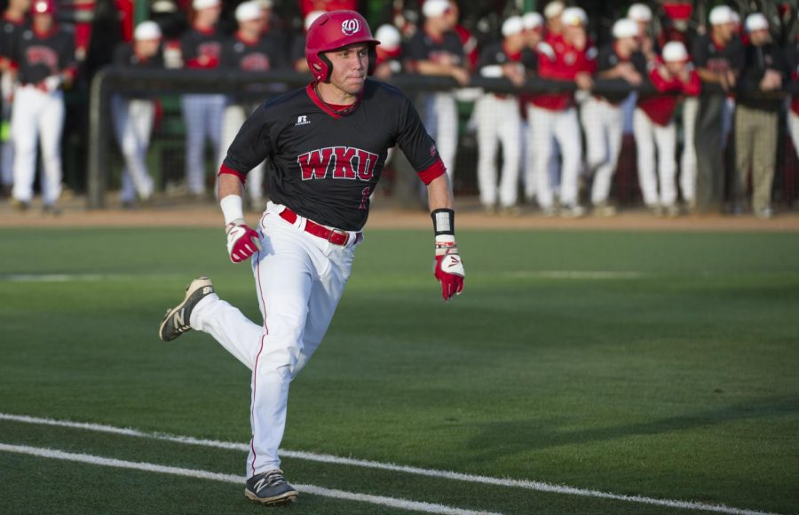 Sophomore+infielder+Steven+Kraft+sprints+for+first+base+during+WKU%27s+16-2+loss+to+Austin+Peay+on+Tuesday.+Kraft+was+1-3+with+one+run+on+the+game.+Nick+Wagner%2FHERALD%C2%A0