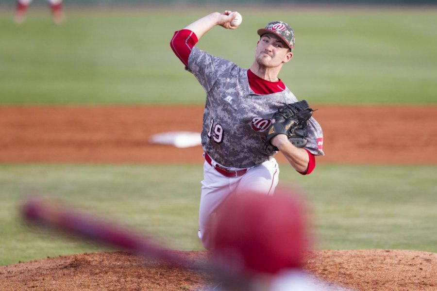 WKU%27s+pitcher+Sam+Higgs+%2819%29+throws+a+pitch+during+WKU%27s+6-5+win+over+Austin+Peay+on+Tuesday%2C+April+28%2C+2015+at+Nick+Denes+Field+in+Bowling+Green%2C+Ky.+Mike+Clark%2FHERALD+ARCHIVE