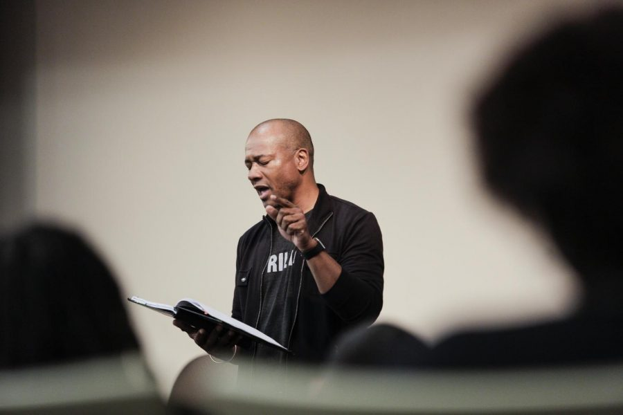 African American Poet, Frank Walker, read various poems of his to students and faculty in Gary Ransdell Hall Auditorium on Tuesday, March 15, 2016.