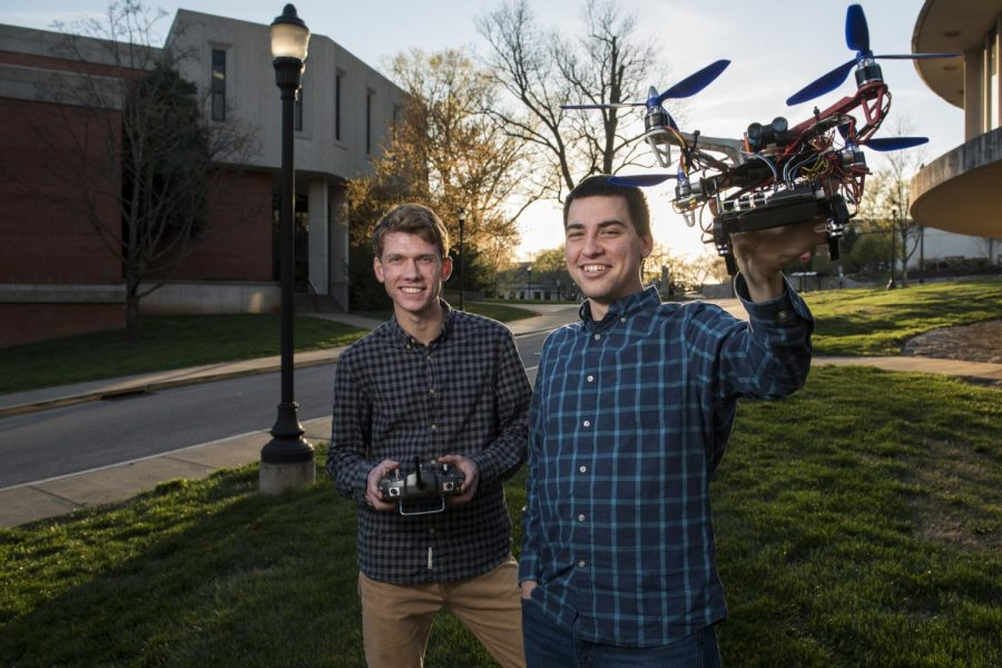 Louisville+junior+Connor+Brooks%2C+left%2C+and+Munfordville+senior+Christopher+Goulet%2C+right%2C+developed+a+fully-autonomous+drone+as+part+of+their+studies+as+computer+science+majors.+Their+projects+focus+is+to+create+inexpensive+drones+to+be+used+for+target+searching+and+mapping+of+indoor+environments.+The+two+are+currently+reprogramming+the+drones+software+to+make+it+fully+operational+by+the+end+of+the+year.+NICK+WAGNER%2FHERALD