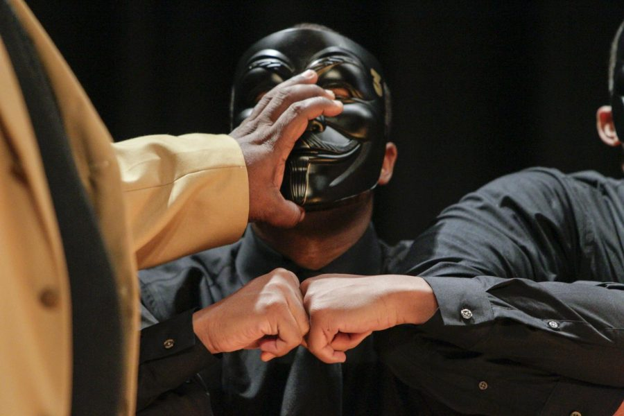 Western Kentucky University senior Brandon McGee of Hopkinsville, KY gets revealed during his probate on April 6, 2016. McGee, along with 13 other men were initiated into Alpha Phi Alpha Fraternity, Inc, after the fraternity had been kicked off campus for four years. Lex Selig/HERALD