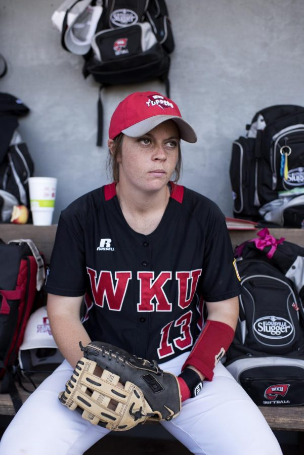 Junior catcher Taylor Proctor prepares for the second game of the double header on Saturday, April 22 against Samford University. The Lady Toppers lost to Samford 14-9. Jennifer King/HERALD