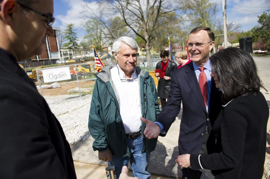 President+Gary+Ransdell+extends+his+hand+toward+an+attendee+after+a+groundbreaking+ceremony+of+WKU%E2%80%99s+new+Ogden+College+Hall+on+Tuesday%2C+April+5%2C+2016.+The+construction+is+projected+to+cost+%2432.2+million+and+will+replace+the+Thompson+Complex+North+Wing+with+an+80%2C000-square-foot%2C+four-story+building.+Nick+Wagner%2FHERALD