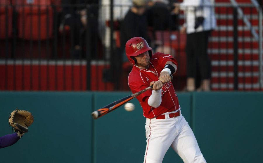 Junior+outfielder+Paul+Murray+swings+at+a+pitch+during+WKUs+game+against+Evansville+on+Tuesday%2C+April+5+at+Nick+Denes+Field.+The+Hilltoppers+defeated+the+Purple+Aces+6-5.+Ebony+Cox%2FHERALD