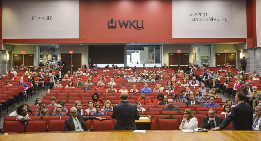 Staff%2C+faculty%2C+and+student+meet+with+President+Gary+Ransdell+and+regents+and+deans+to+discuss+the+actions+that+are+being+taken+to+balance+WKU%27s+budget.+The+reductions+included+consolidation+of+ICSR%2C+reductions+to+track+and+field+athletic+programs+and+moving+grounds+crew+and+housing+keeping+staff+to+an+outsource+company+affecting+around+202+full-time+employees.+Matt+Lunsford%2FHERALD