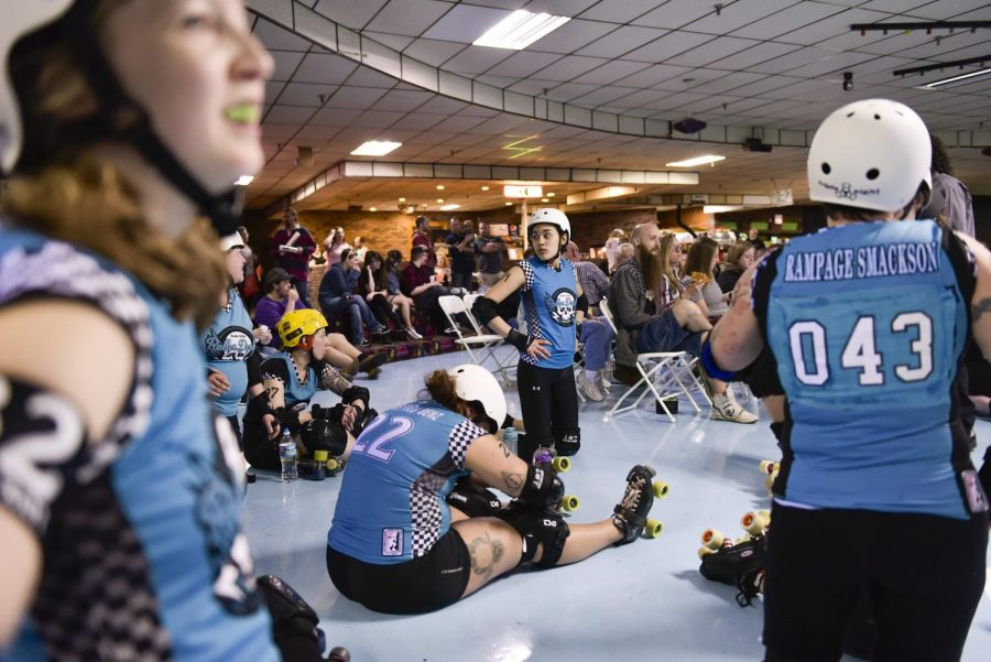 Layne+Cuautle+%2822%29+stretches+with+her+teammates+before+a+roller+derby+match+against+the+Greenville+Derby+Dames+on+April+2.+%22After+seeing+the+movie+%27Whip+It%2C%E2%80%99+I+always+wanted+to+be+involved+in+roller+derby%2C%22+Cuautle+said.+Jennifer+King%2FHERALD