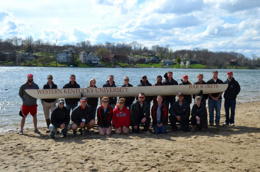 WKU%E2%80%99s+concrete+canoe+team+poses+for+a+team+picture+after+competing+at+their+regional+competition+on+Friday%2C+April+1.+The+team+finished+first+for+the+second+year+in+a+row.+Photo+submitted+by+David+Miller