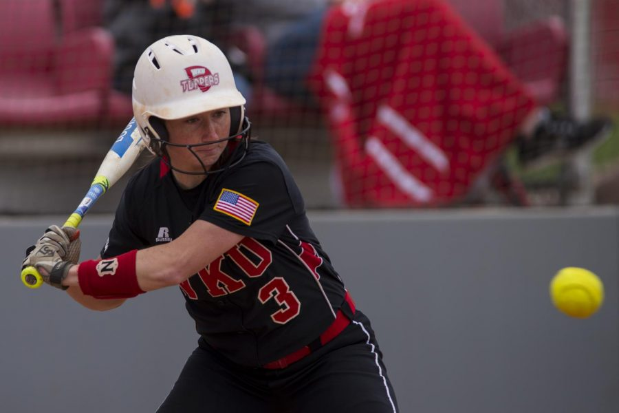 Infielder Brooke Holloway attempts to hit the softball during the Lady Toppers' 5-4 win over Middle Tennessee on Sunday April 10, 2016 at WKU Softball Complex in Bowling Green, Ky. Holloway was at bat 4 times and had 2 hits and no runs.Shaban Athuman/HERALD