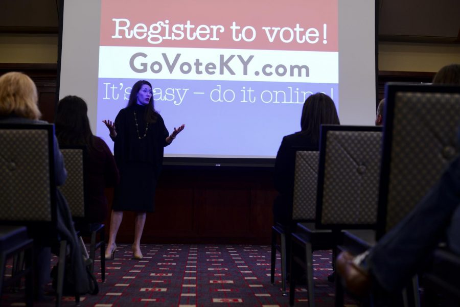 Secretary+of+State+of+Kentucky+Alison+Lundergan+Grimes+speaks+about+the+state%27s+new+online+voter+registration+system+in+DSU+on+Thursday%2C+April+7%2C+2016.+Abby+Potter%2FHERALD