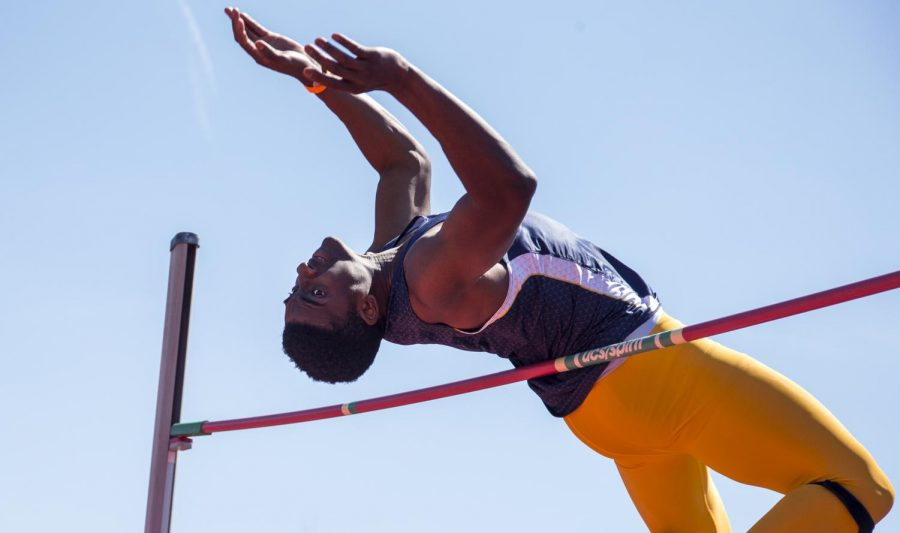 High jumper competed during the Hilltopper Relay Meet at Charles M. Rueter Track and Field Complex on Saturday, April 9. Weston Kenney/HERALD