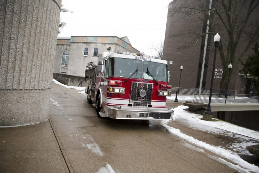 The Fire Department was called to Raymond Cravens Library where a small mechanical fire occurred in Bowling Green, Kentucky on February 16, 2016. Ebony Cox/HERALD