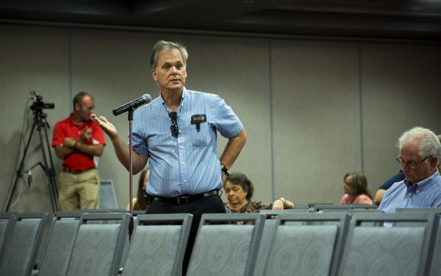 Dean May, the head of the Department of Social Work at WKU, stands before faculty during a panel on the Presidential Search Committee on Monday, August 29, 2016 in Downing Student Union. May, along with other members of the WKU faculty, addressed their concerns and hopes for the future president. May felt that the new president should be more focused on faculty.