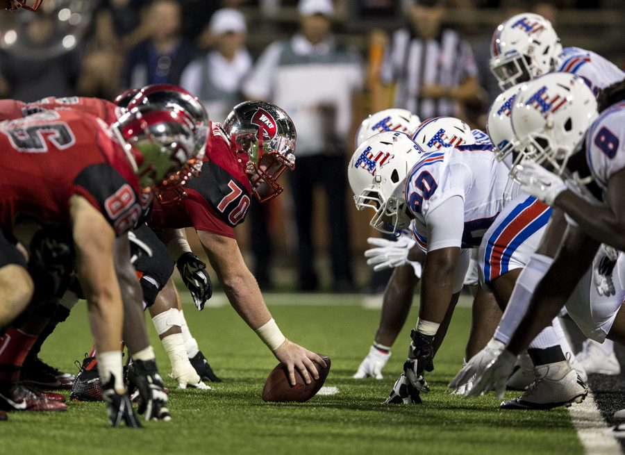 The+offensive+line+prepares+for+former+WKU+center+Max+Halpin+%2870%29+to+snap+the+ball+during+WKU%27s+game+against+Louisiana+Tech+on+Sept.+10%2C+2015%2C+at+Houchens-+Smith+Stadium.%C2%A0