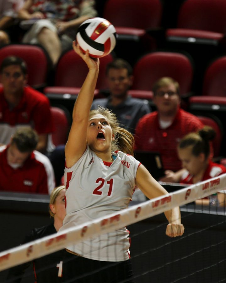 Sophomore+outside+hitter+Taylor+Dellinger+%2821%29+tips+the+ball+during+WKU%27s+match+against+Belmont+on+Tuesday%2C+Sept.+6+in+Diddle+Arena.+Dellinger+had+three+spikes+and+seven+kills+during+the+match.+Lex+Selig%2FHERALD